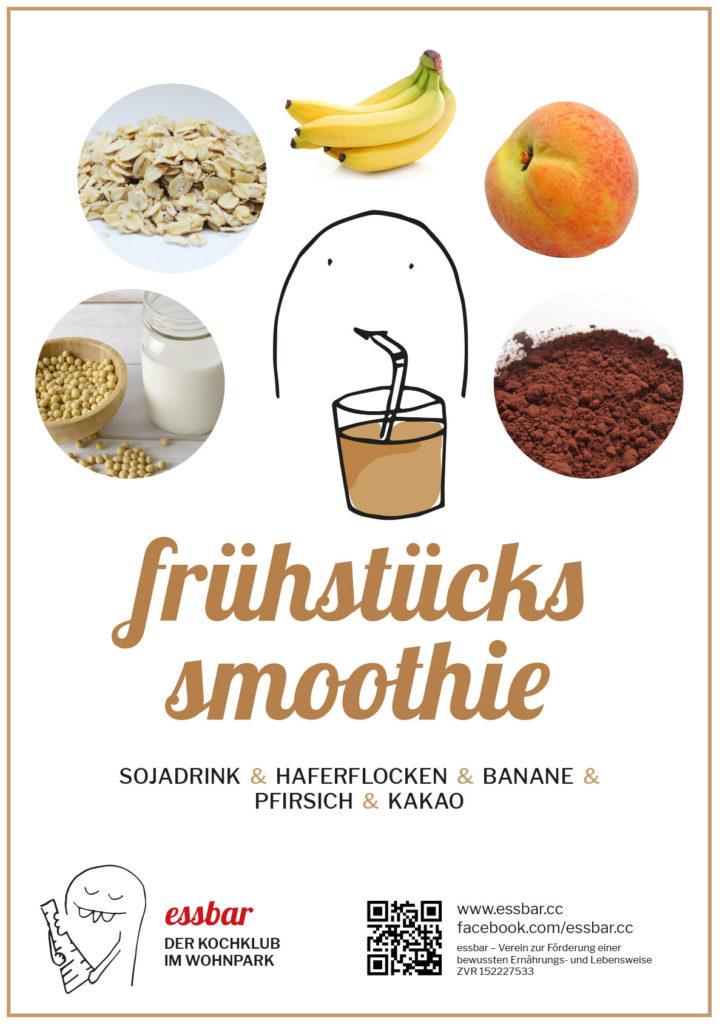 Frühstückssmoothie: Sojadrink, Haferflocken, Banane, Pfirsich, Kakao