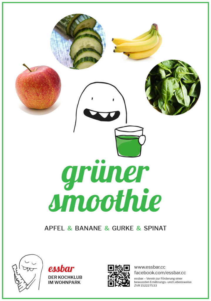 Grüner Smoothie: Apfel, Banane, Gurke, Spinat